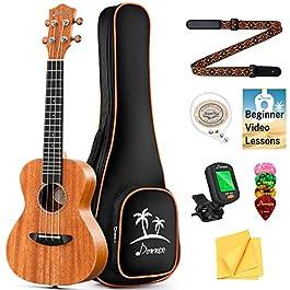 Donner Concert Ukulele Mahogany 23 Inch Ukelele Starter Bundle Kit with Free Online Lesson Gig Bag Strap Nylon String…