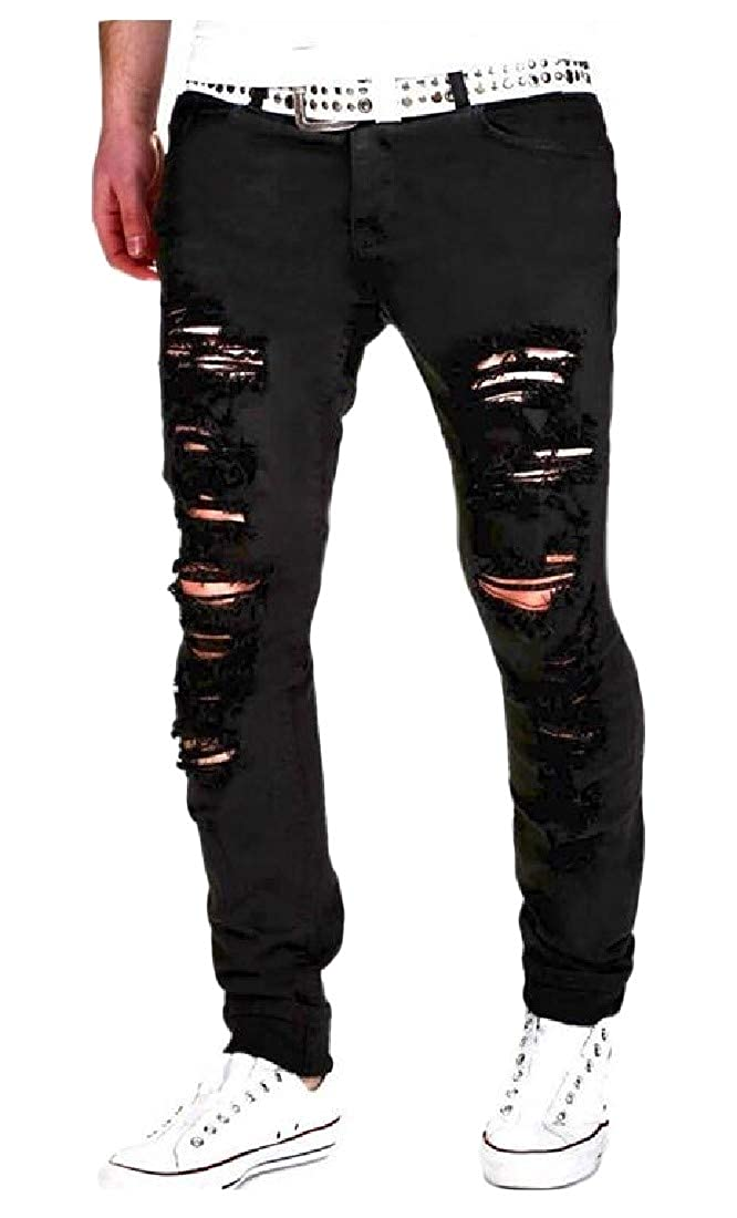 pipigo Mens Outdoor Zipper Trousers Slim Washed Ripped Pants