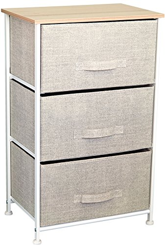 East Loft Nightstand Dresser |Storage Organizer for Closet, Nursery, Bathroom, Laundry or Bedroom | 3 Fabric Drawers, Solid Wood Top, Durable Steel Frame| Natural