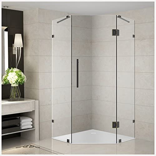 Aston Neoscape 34 x 34 x 72 Completely Frameless Neo-Angle Shower Enclosure in Frosted Glass, Oil Rubbed Bronze