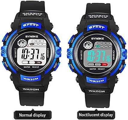 GEZICHTA - Reloj de Pulsera para Niños con Alarma Digital LED para el Aire Libre, Resistente al Agua, con Fecha, Reloj de Cuarzo, Deportivo y Militar, ...
