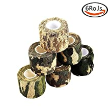 LoveS 6 Rolls Self-adhesive Non-woven Outdoor Camouflage Wrap Rifle Hunting Cycling Tape Waterproof Camo Stealth Tape