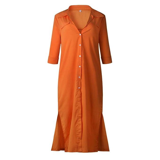 Vestidos Largos Mujer, ❤ Modaworld Vestido Largo de Noche de Manga Larga Vestido de Camisa de botón Casual de Mujeres Vestidos de Fiesta cóctel Playa ...
