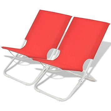 vidaXL 2X Sillas Plegables Playa 48x60x62 Rojo Asiento ...