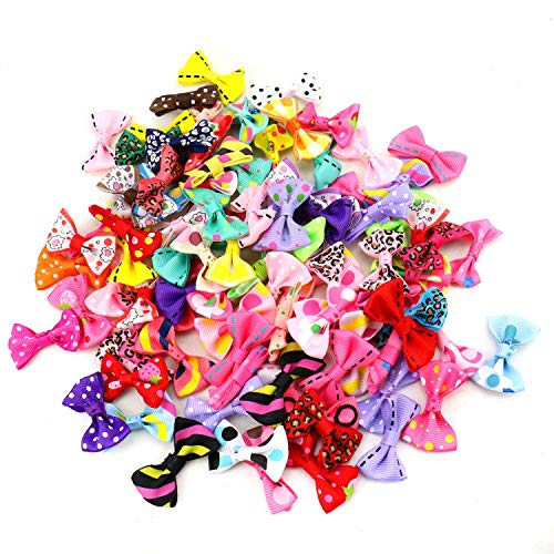 JETEHO 100 Pcs Mini Satin Ribbon Bows Ribbon Bow Ties Applique Embellishments for Crafts Headbands ()