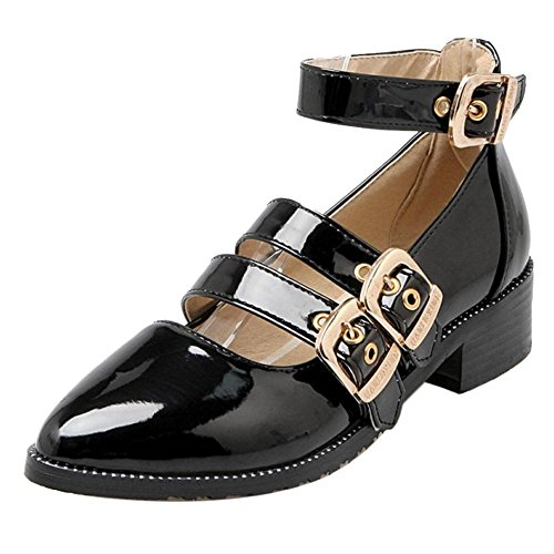 COOLCEPT Women Fashion Block Heel Court Shoes Black frrjKy2D