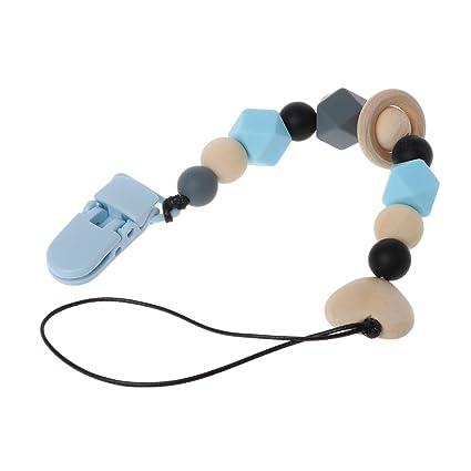 MIsha Cadena chupete para bebe Clip de chupete de plástico Perlas de silicona y madera, Silicona de grado alimenticio, sin BPA(Azul)