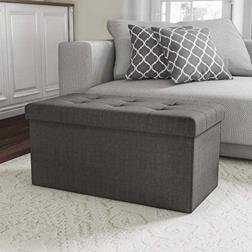 Lavish Home 80-FOTT-13 Folding Storage Bench Ottoman 30 Tufted Foam Padded Lid, Dark Gray
