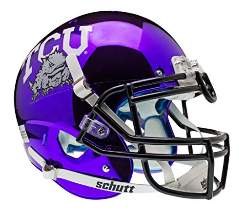 NCAA TCU Horned Frogs Authentic XP Football Helmet, Chrome/Purple