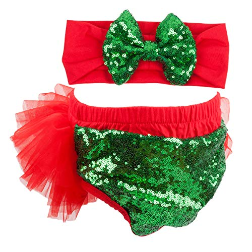 Headband Red Green - Slowera Baby Girls 2PCS Sets Cotton Tulle Sequins Diaper Cover Bloomers and Headband (Red Green, S: 0-6 Months)