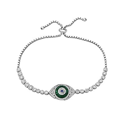 1d8aab483080 Amazon.com  Crush   Fancy Crystal Evil Eye Tennis Bracelet for Women ...