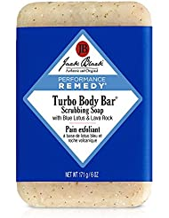 JACK BLACK – Turbo Body Bar Scrubbing Soap – Men's Soap with Blue Lotus and Lava Rock, Moisturizing Murumuru and Shea Butters, Ginkgo Biloba, Aroma Combats Fatigue, Stimulates Senses, 6 oz.