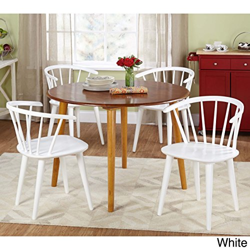 Florence Round Dining Table - Target Marketing Systems 5 Piece Florence Dining Set with 4 Chairs and a Round Table, Oak/White