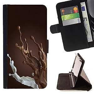 BullDog Case - FOR/Sony Xperia M2 / - / brown chocolate milk breakfast sweet /- Monedero de cuero de la PU Llevar cubierta de la caja con el ID Credit Card Slots Flip funda de cuer