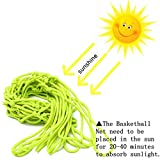 CAMTOA Glow In The Dark Basketball Net Portable Outdoor Sun Powered Sports Basketball Hoop Net Replacement for Basketball Hoop 2 PCS