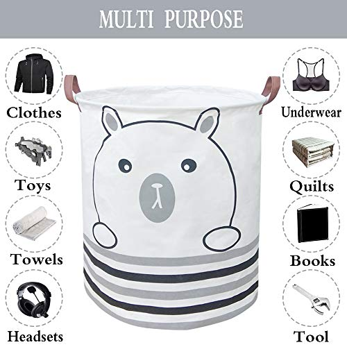 BOOHIT Storage Baskets,Canvas Fabric Laundry Hamper-Collapsible Storage Bin with Handles,Toy Organizer Bin for Kid's Room,Office,Nursery Hamper, Home Decor (Bear)