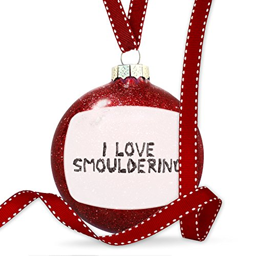 Christmas Decoration I Love Smouldering Coal Grill Fire Place Ornament by NEONBLOND