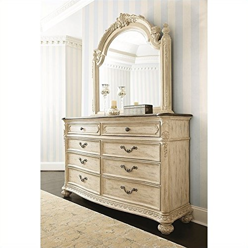 American Drew Jessica McClintock The Boutique Dresser and Mirror Set in White -
