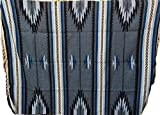 Mexican Blanket JUMBO Chief '' Carbon Azul '' XXL 92x64 Handwoven Queen Throw Tribal Rug