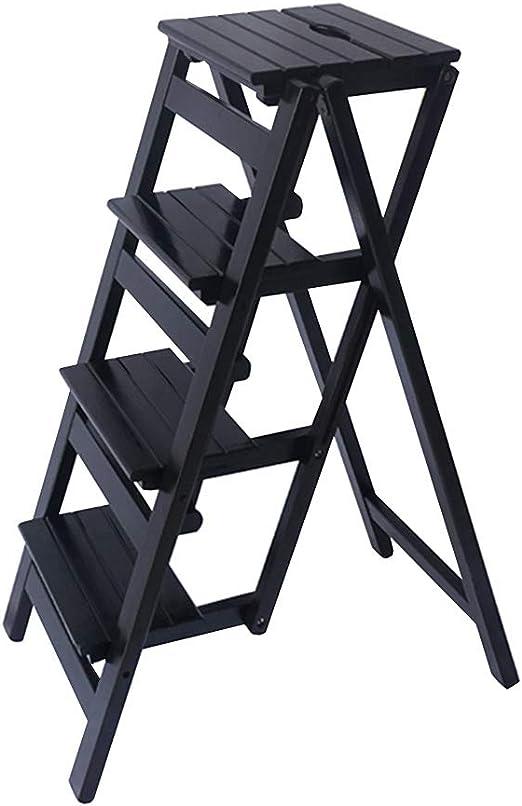 Escalera Plegable de 4 peldaños, Escalera para el hogar Silla de Comedor Taburete de Bar Taburete de Madera para niños y Adultos, Herramienta de jardín para el hogar Máx. 150kg en Negro: