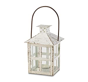 Kate Aspen 14130WT Vintage White Distressed Medium candle lantern, One Size,