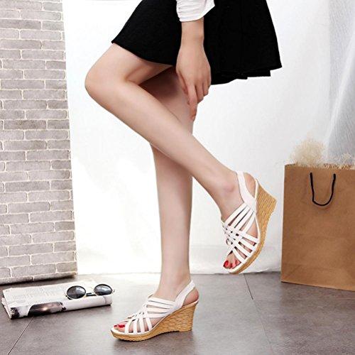 Elevin (tm) Dames Zomer Peep-teen Hoge Platformen Uitsnijdingen Patroon Geruite Riem Gladiator Sandaal Schoenen Wit