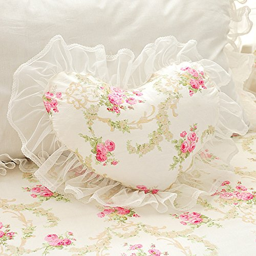 LELVA Beautiful Lace Ruffle Heart-shaped Pillow Romantic Girls Throw ()