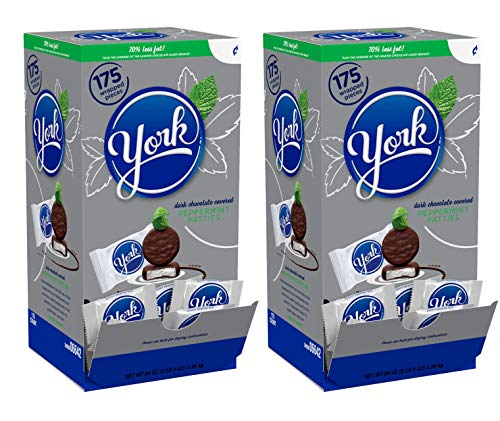 York Peppermint Patties Dark Chocolate Covered Mint Candy, 175 Pieces, 5.25 Pound – 2 Pack