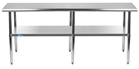 Swell Amgood Stainless Steel Work Table With Undershelf Kitchen Island Food Prep Laundry Garage Utility Bench Nsf Certified 84 Long X 30 Deep Pdpeps Interior Chair Design Pdpepsorg