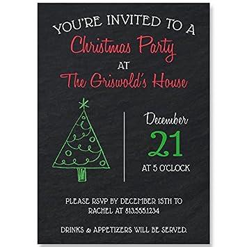 Amazoncom Chalkboard Christmas Holiday Party Invitations Black