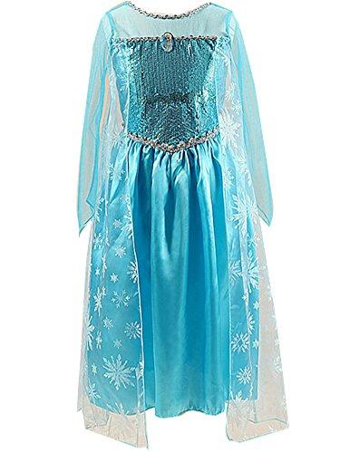 Girls Princess Elsa Chiffon Cosplay Costume Long Dress for Girls Kids