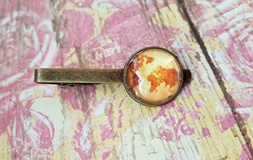 18mm Old Whole world map Tie Clips ,Mens Accessories, Perfect Gift Idea(#1)