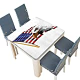 eagle vision emblem - PINAFORE Polyester Decor American Eagle Emblem United States Memorial National Citizen Artwork Multi Linen Cotton Tablecloths Kitchen Room 29.5 x 29.5 INCH (Elastic Edge)