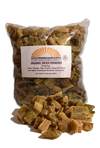 100% Organic Dried Rhubarb Pieces 930g Bag 2lb by Live Strong Live Long