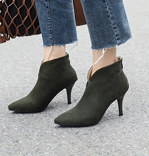 Carolbar Women's Chic Charm High Heel Pointed Toe Zip Short Dress Boots Dark Green RWetVO