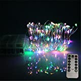 LEDLuces 10M/33ft 100 LEDs String Lights, Battery Operated Powered Waterproof 8 Modes With Remote Control For Decoration - Silver Wire(RGB)