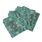 Roostery Southwest Linen Cotton Dinner Napkins Color Me Aqua by Edsel2084 Set of 4 Cotton Dinner Napkins made by