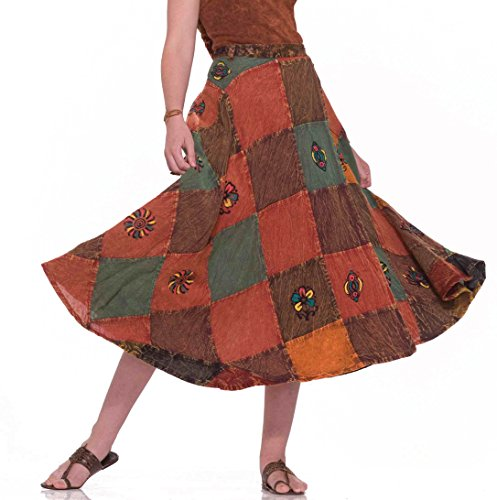 Forum Novelties Women's Hippie Costume Patchwork Skirt, Multi, One Size Hippie Patchwork Skirts