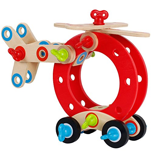 Wooden Nuts and Bolts Set DIY Construction Building Blocks Assemble Toys Kit for Children Kids ()