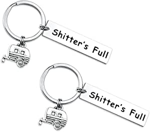 SUNSH 2PCS Camper Keychains for Men Women Friends Funny Camping Keyrings Keychain Outdoor Adventure Traveller Gifts