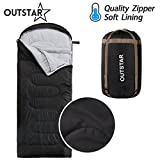 OUTSTAR Lightweight Waterproof Envelope Sleeping Bag With Compression Sack for Kids or Adults Outdoor Camping, Travelling, Hiking & Backpacking (Deep Gray, Envelope) Review