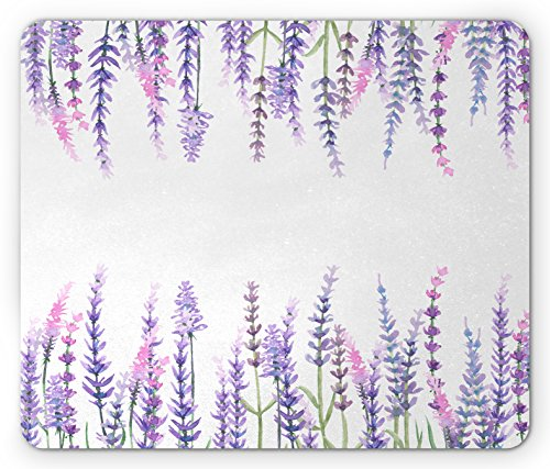 Lunarable, Lavender Plants Aromatic Evergreen Shrub of Mint Family Nature Oil Country Style Print, Standard Size Rectangle Non-Slip Rubber Mousepad, Lilac (Aromatic Mint)