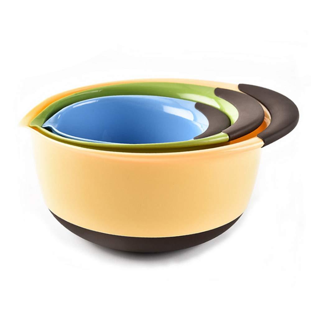 Nesting Mixing Bowls-Set of 3 Plastic Serving Bowls with Non Slip Rubber Bottom, Pantula, Soft and Comfortable Grip, BPA Free, 1.5qt, 3qt, 5qt