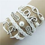 Lookatool Women DIY Style Jewelry fashion Leather Cute Infinity Charm Bracelet Silver