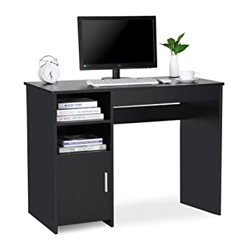 official photos 4e18c 5ae10 Ej. Life Computer Desk with Shelves and Cabinet for Home Office PC Table  Workstation,black
