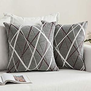 MIULEE Lot de 2 Hausse de Coussins Décoratifs Tissés Texturés Chenille Coussin Carré Doux Moderne Taie d'oreiller…