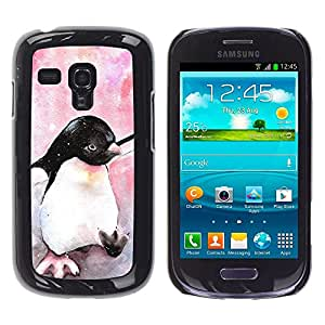 Design for Girls Plastic Cover Case FOR Samsung Galaxy S3 MINI 8190 Cute Penguin Watercolor Baby Pink OBBA