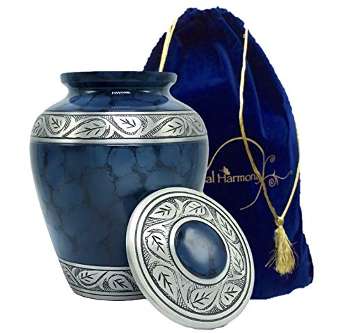 Eternal Harmony Memorial Cremation Urn Human Ashes | Carefully Handcrafted Elegant Finishes to Honor Remember Your Loved One | Adult Large Size Beautiful Velvet Bag (Blue Silver)