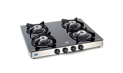 Glen Kitchen 4 Burner Glass Gas Stove, Manual Ignition, Alloy Burners Cooktop, (CT1042GT, Black/Silver)