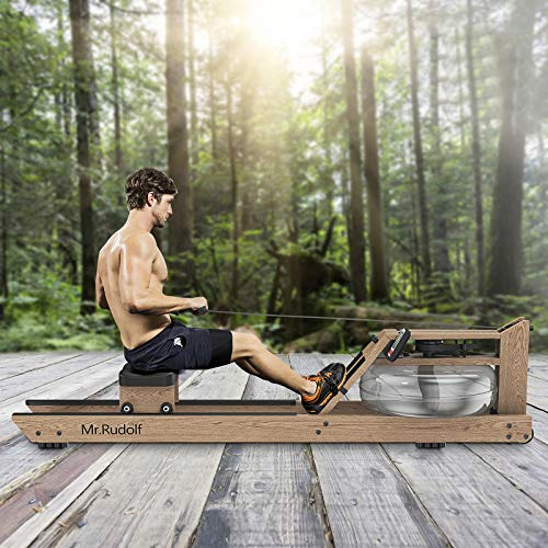Mr. Rudolf Water Rowing Machine with Bluetooth Monitor,Wood Oak Water Resistance Rower for Home Use Training Exercise Equipment Indoor Gyms Sports Fitness